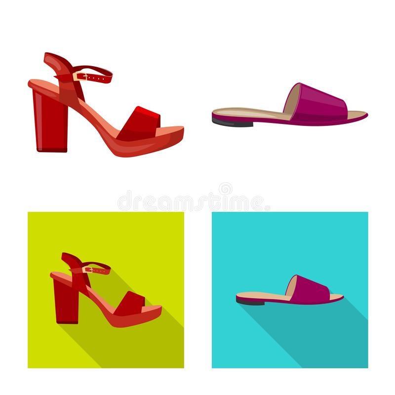 Isolated object of footwear and woman sign. Set of footwear and foot stock symbol for web. Vector design of footwear and woman logo. Collection of footwear and royalty free illustration