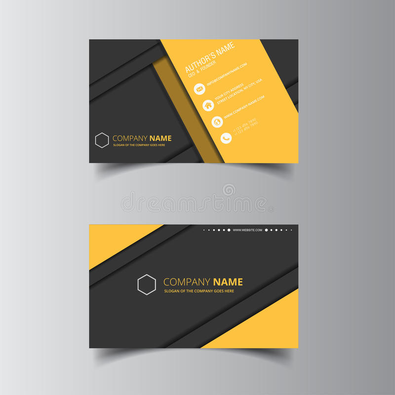 Vector Design Formal Yellow Modern Business Card Stock Vector ...