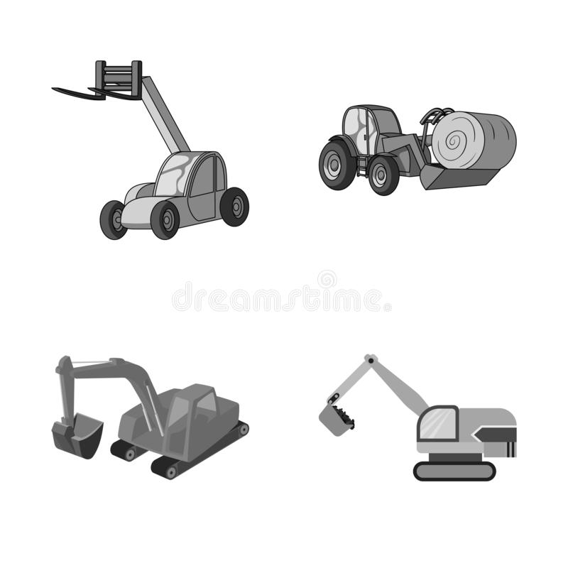 Isolated object of front and excavator sign. Collection of front and bucket stock symbol for web. Vector design of front and excavator logo. Set of front and stock illustration