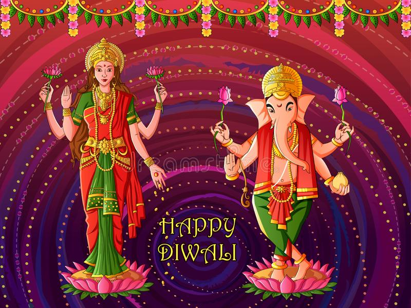 Goddess Lakshmi and Lord Ganesha for Happy Diwali prayer festival of India in Indian art style. Vector design of Goddess Lakshmi and Lord Ganesha for Happy vector illustration