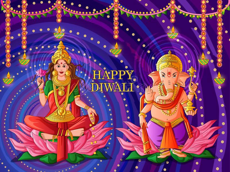 Goddess Lakshmi and Lord Ganesha for Happy Diwali prayer festival of India in Indian art style. Vector design of Goddess Lakshmi and Lord Ganesha for Happy royalty free illustration