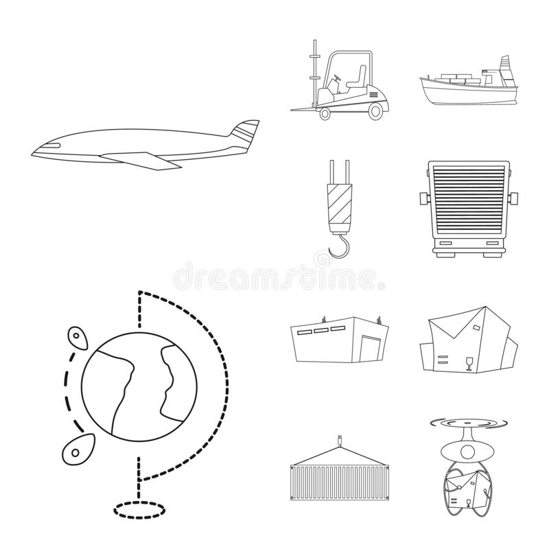 Vector design of goods and cargo symbol. Set of goods and warehouse vector icon for stock. Vector illustration of goods and cargo sign. Collection of goods and vector illustration