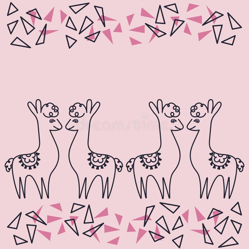Greeting cards, invitations, posters, space for text . Alpaca or llamas on pink background ,hand drawing . Suitable for Valentine vector illustration
