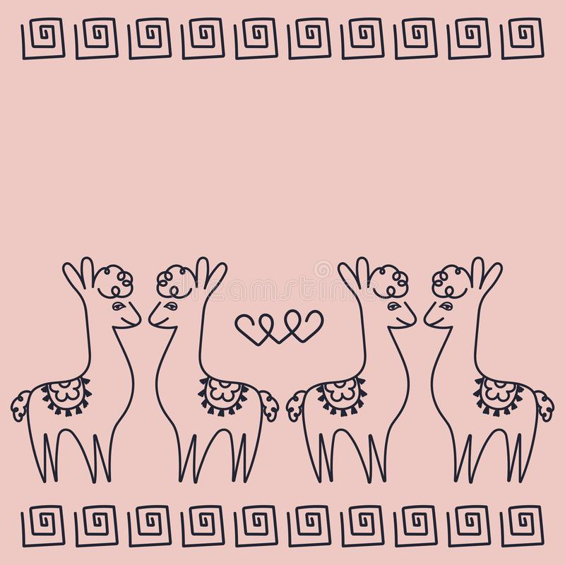 Couples in love alpacas, hearts, Greek ornament. Suitable for Valentine`s Day, birthday, party stock illustration