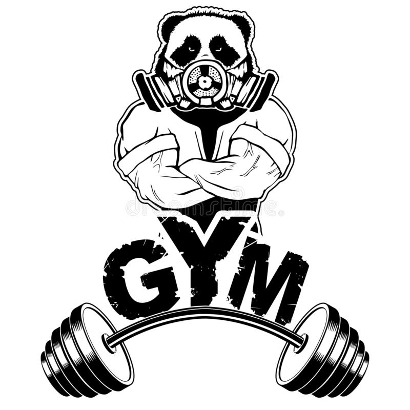 Vector design for a gym with an abstract image of a strong panda. Workout inspirational Poster. Vector design for gym, t-shirt, cover, cases etc stock illustration
