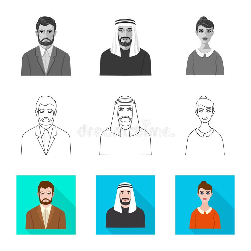 Vector design of hairstyle and profession  icon. Collection of hairstyle and character  vector icon for stock. Vector illustration of hairstyle and profession royalty free illustration