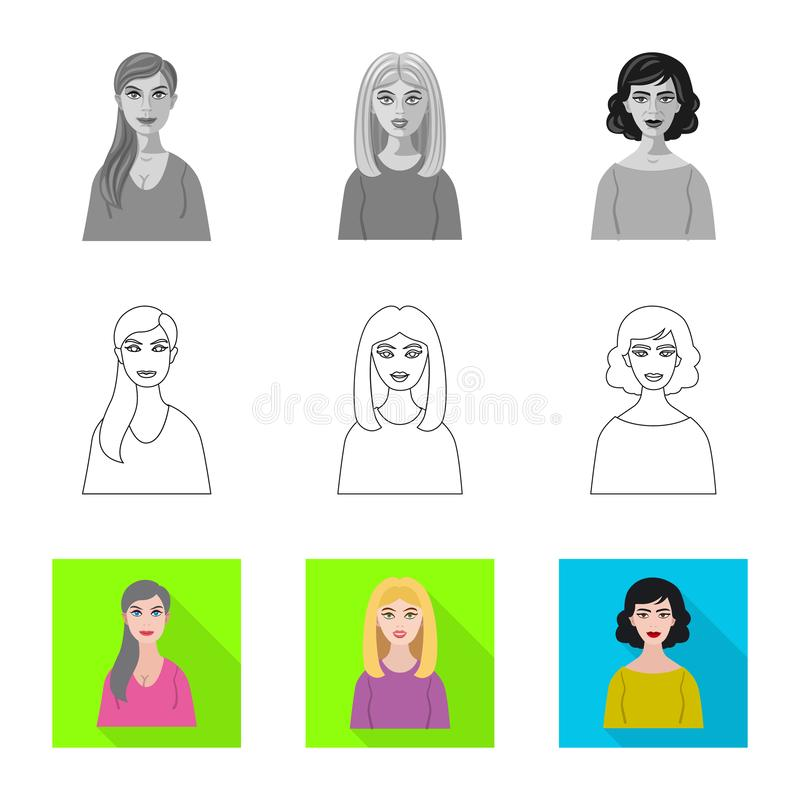 Isolated object of hairstyle and profession  symbol. Collection of hairstyle and character  stock symbol for web. Vector design of hairstyle and profession royalty free illustration