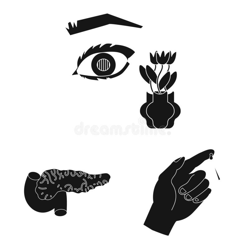 Isolated object of healthcare and medicine icon. Collection of healthcare and diabetes stock vector illustration. royalty free stock images