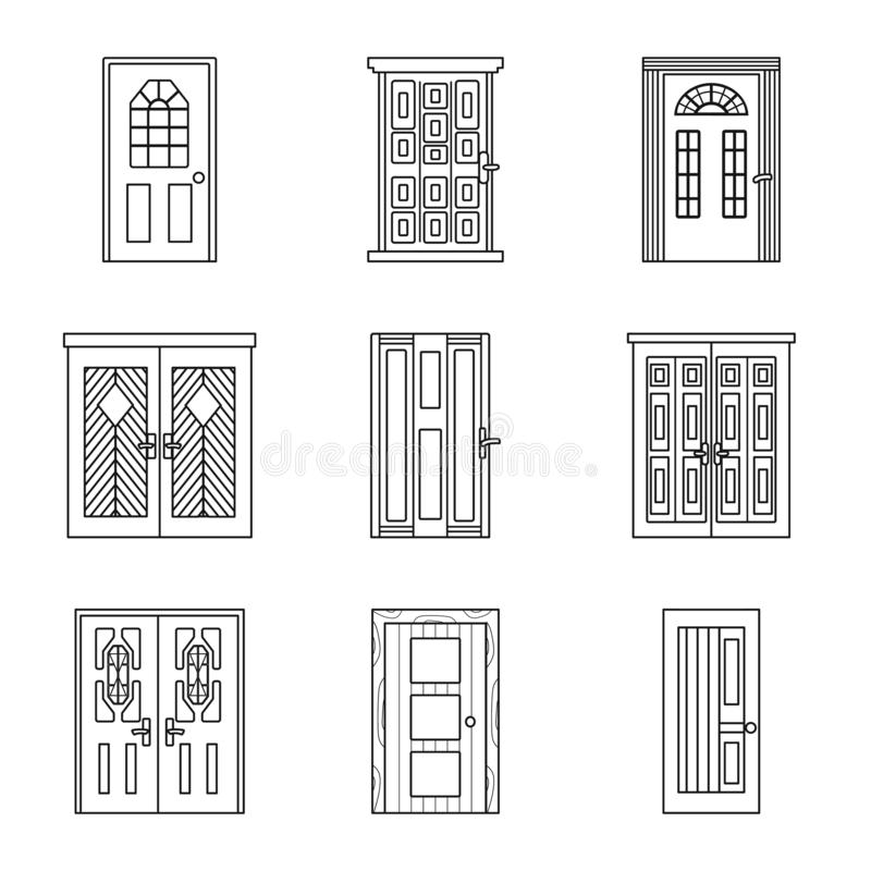 Isolated object of home and design logo. Collection of home and office stock vector illustration. stock illustration