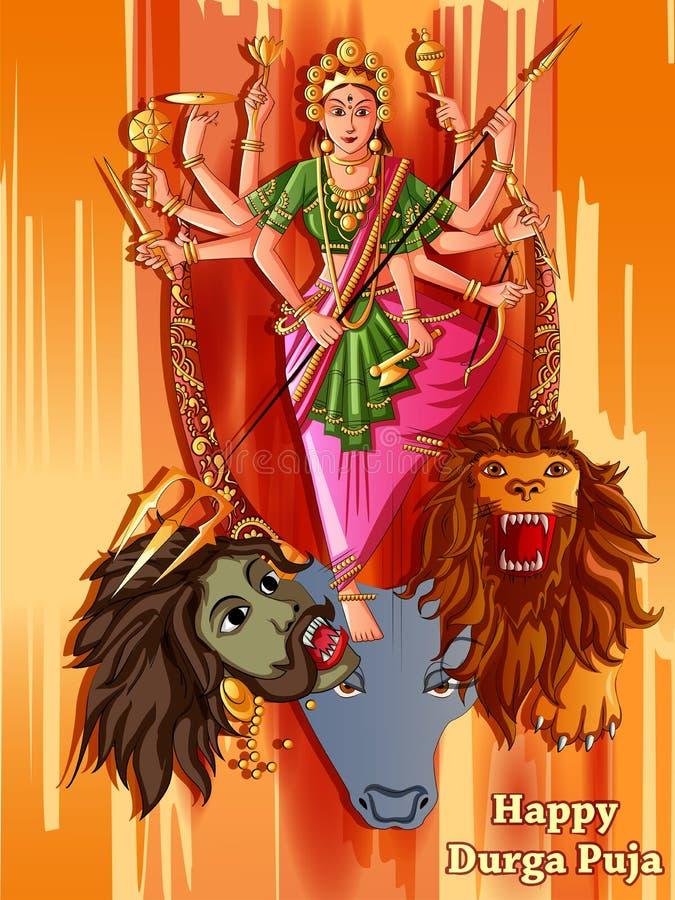 Indian Goddess Durga sculpture for Durga Puja holiday festival of India in Dussehra Vijayadashami Navratri. Vector design of Indian Goddess Durga sculpture for vector illustration