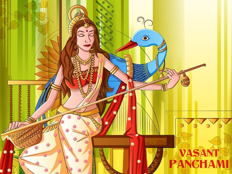 Indian Goddess Saraswati on Vasant Panchami Pooja festival background. Vector design of Indian Goddess Saraswati on Vasant Panchami Pooja festival background royalty free illustration