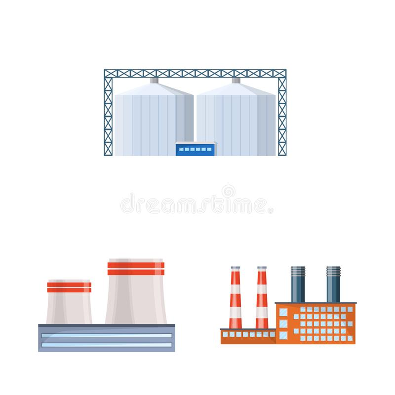 Isolated object of industry and building icon. Collection of industry and construction stock vector illustration. Vector design of industry and building symbol royalty free illustration