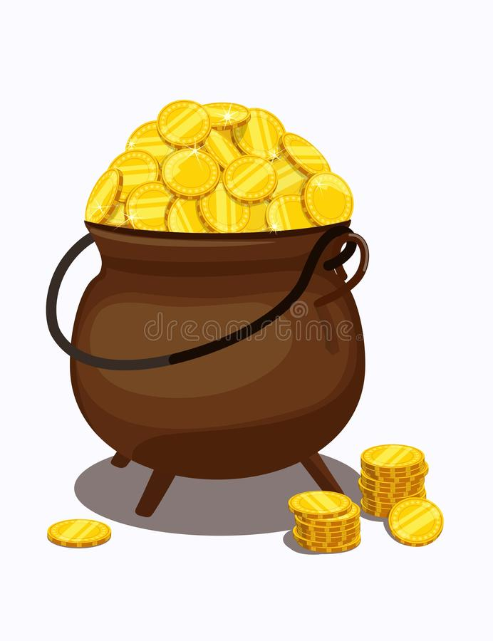 Cauldron filled to top with gold coins. Vector illustration. stock illustration