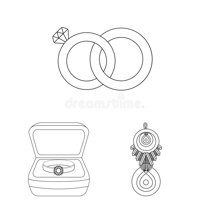 Vector design of jewelery and necklace icon. Set of jewelery and pendent stock vector illustration. Vector illustration of jewelery and necklace symbol stock illustration