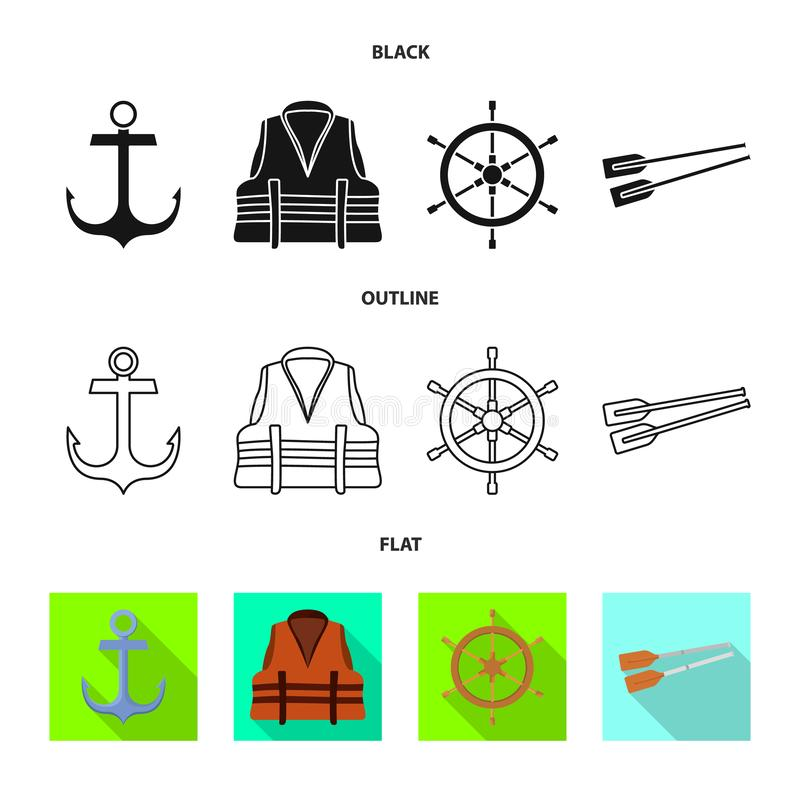 Vector design of journey and seafaring icon. Collection of journey and vintage stock symbol for web. Vector illustration of journey and seafaring symbol. Set of royalty free illustration