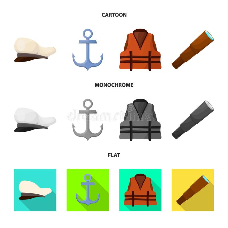 Isolated object of journey and seafaring symbol. Collection of journey and vintage stock symbol for web. Vector design of journey and seafaring sign. Set of stock illustration