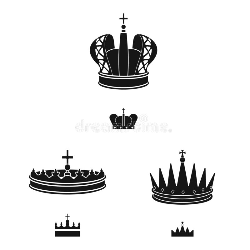 Isolated object of king and majestic logo. Collection of king and gold stock symbol for web. Vector design of king and majestic icon. Set of king and gold stock royalty free illustration