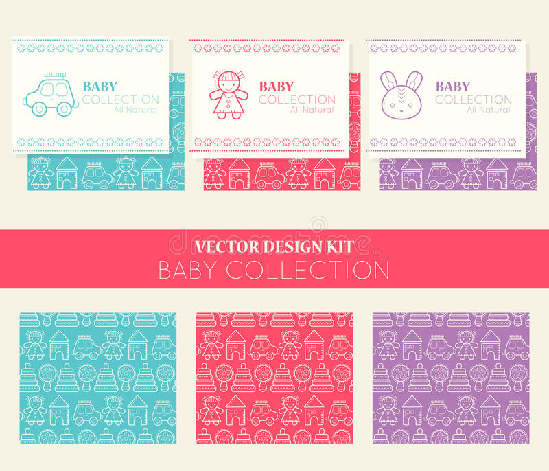 Vector design kit with business card templates and seamless patterns, baby collection stock illustration