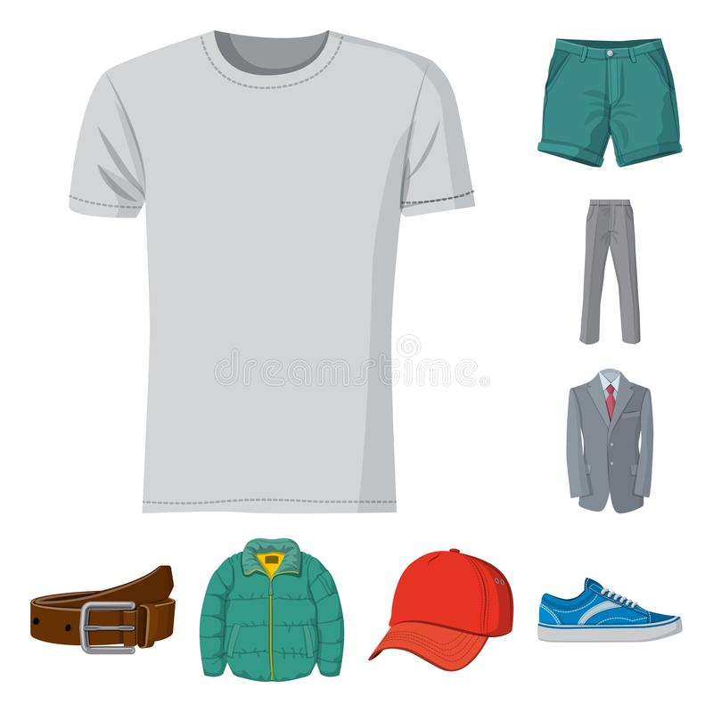 Vector design of man and clothing icon. Collection of man and wear stock vector illustration. royalty free illustration