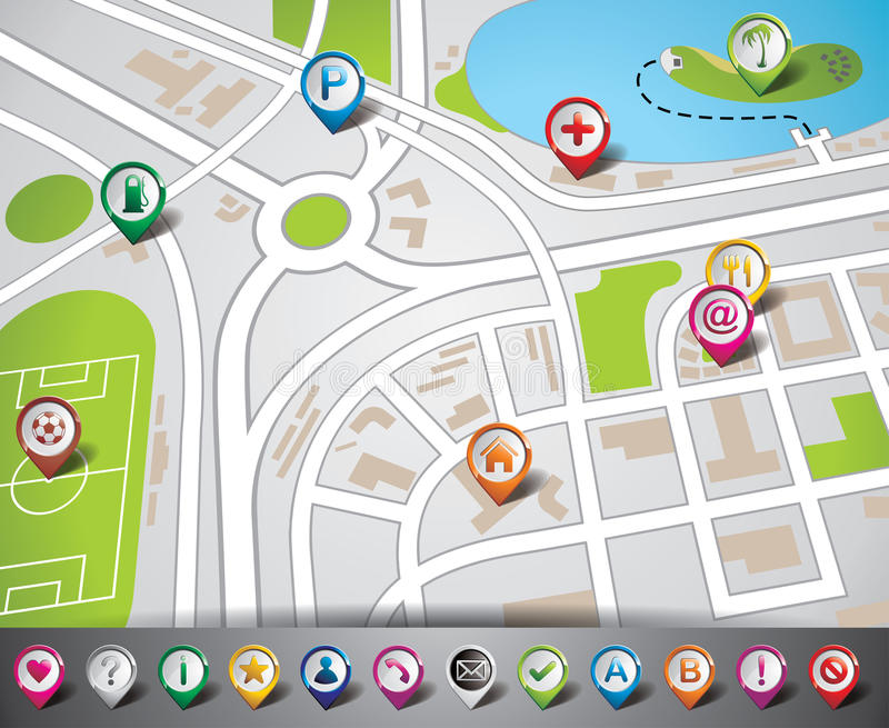 Download Vector Design With Map Illustration And Map Pointe Royalty Free Stock Photo - Image: 29788185