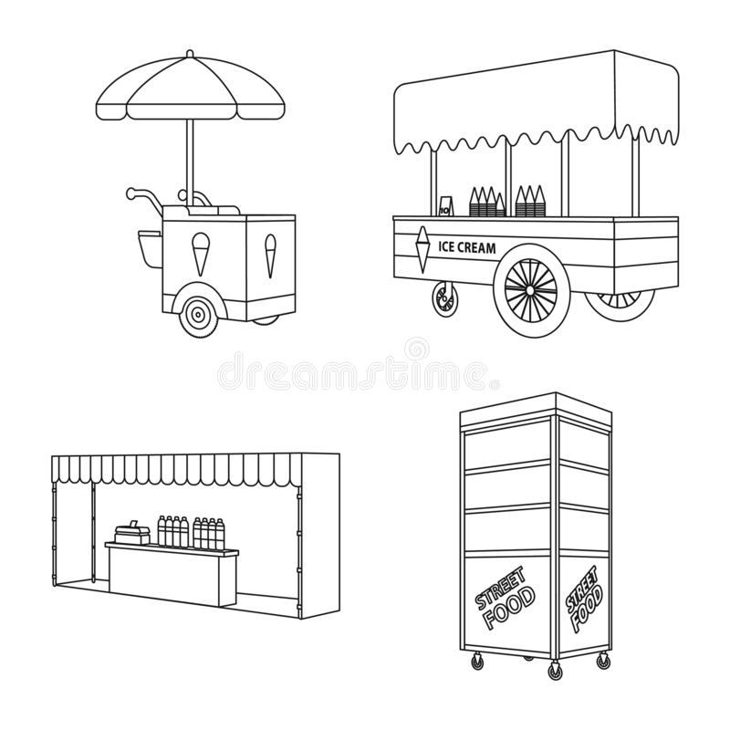 Vector design of market and small sign. Set of market and food stock vector illustration. Vector illustration of market and small logo. Collection of market and vector illustration