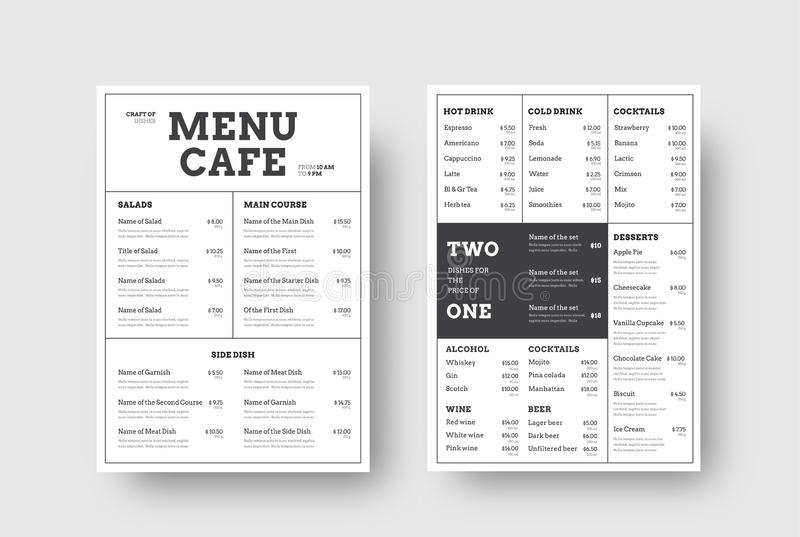 Menu Vector Dishes Of Cafes, Restaurants  Stock Illustration