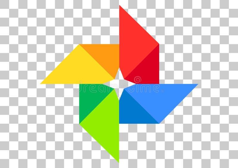 Google photos apk icon. Vector design of mobile app brand with trademark logo