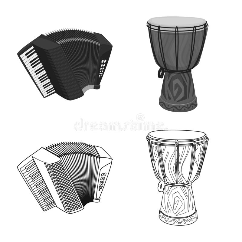 Vector design of music and tune icon. Collection of music and tool stock vector illustration. Vector illustration of music and tune symbol. Set of music and royalty free illustration