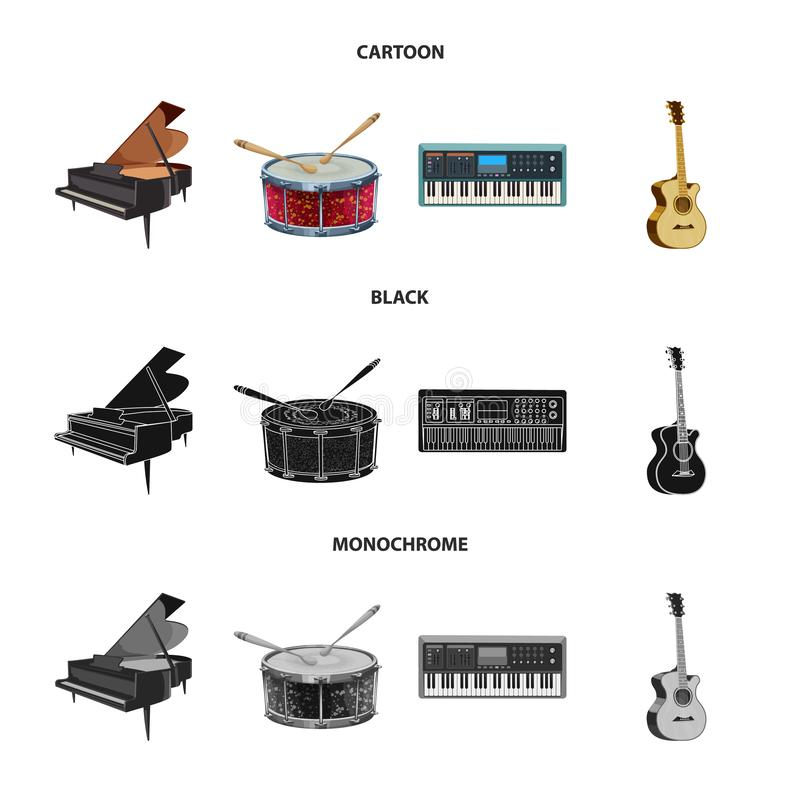 Vector design of music and tune icon. Set of music and tool stock symbol for web. Vector illustration of music and tune symbol. Collection of music and tool stock illustration