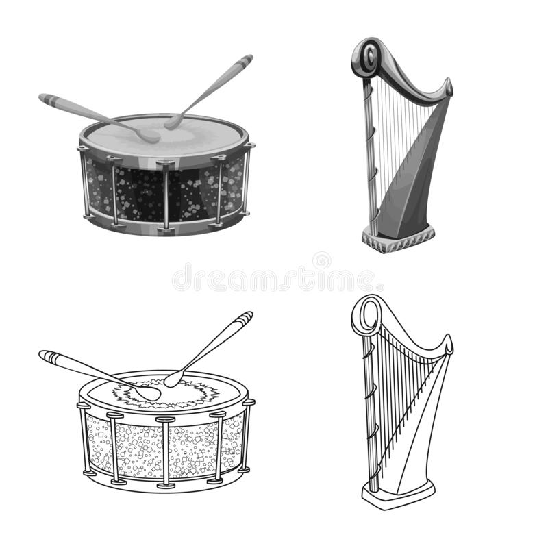 Isolated object of music and tune symbol. Set of music and tool stock symbol for web. Vector design of music and tune sign. Collection of music and tool stock stock illustration
