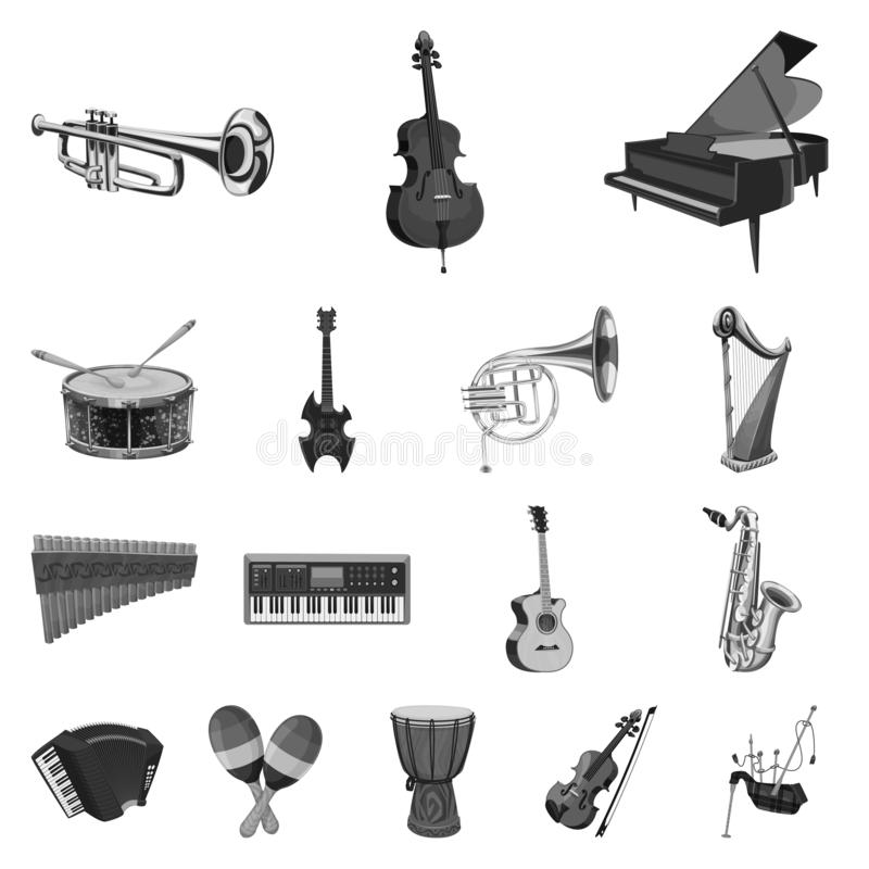 Vector design of music and tune sign. Set of music and tool stock symbol for web. Vector illustration of music and tune logo. Collection of music and tool stock royalty free illustration