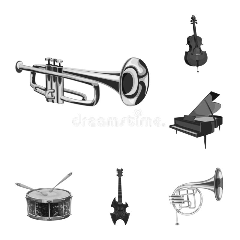 Isolated object of music and tune symbol. Collection of music and tool vector icon for stock. Vector design of music and tune sign. Set of music and tool stock royalty free illustration