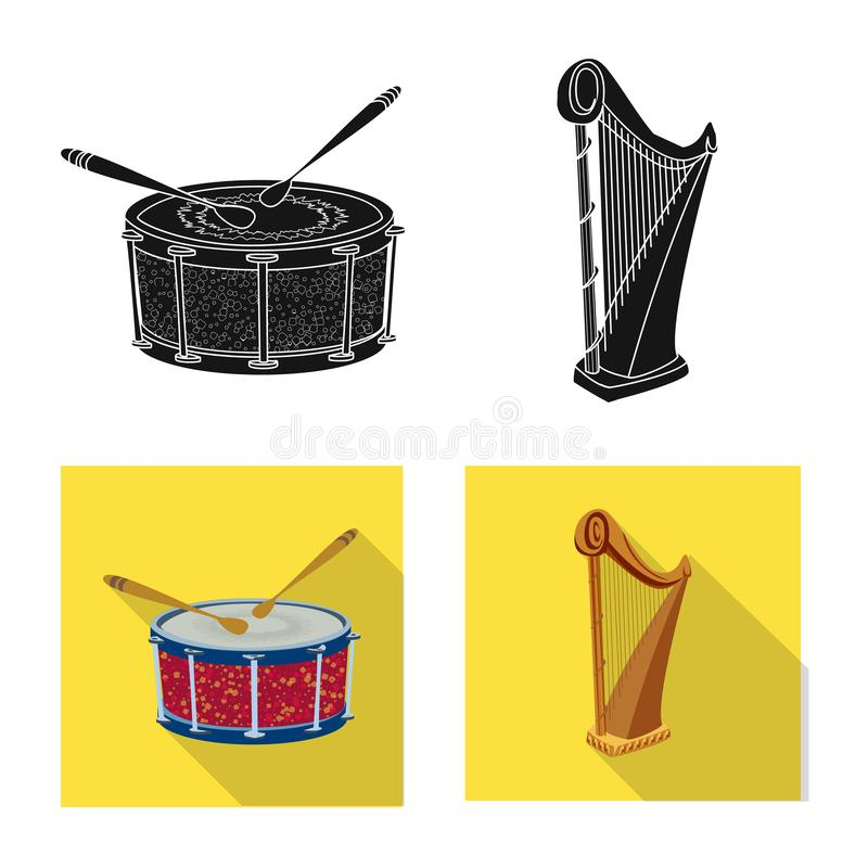 Isolated object of music and tune icon. Collection of music and tool stock symbol for web. Vector design of music and tune symbol. Set of music and tool stock vector illustration