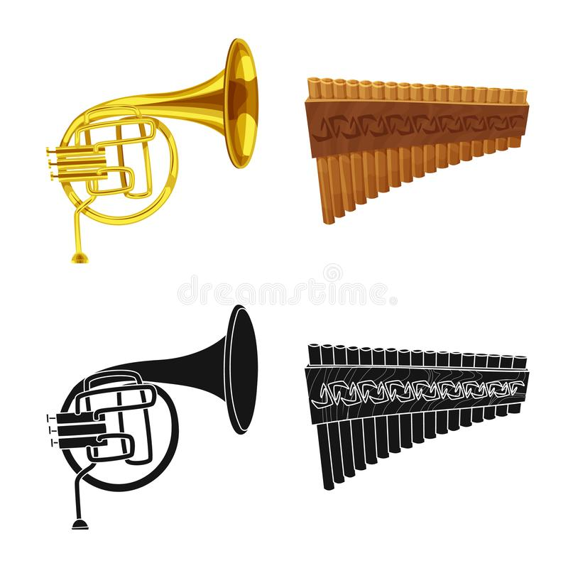 Vector design of music and tune symbol. Set of music and tool stock vector illustration. Vector illustration of music and tune sign. Collection of music and royalty free illustration