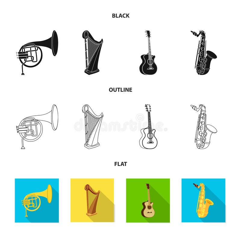 Vector design of music and tune symbol. Set of music and tool stock symbol for web. Vector illustration of music and tune sign. Collection of music and tool stock illustration