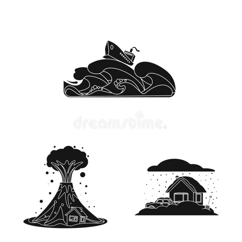 Isolated object of natural and disaster logo. Collection of natural and risk stock symbol for web. Vector design of natural and disaster icon. Set of natural vector illustration
