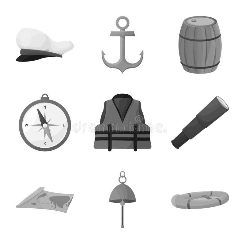 Isolated object of nautical and voyage symbol. Collection of nautical and seafaring stock vector illustration. Vector design of nautical and voyage sign. Set of stock illustration
