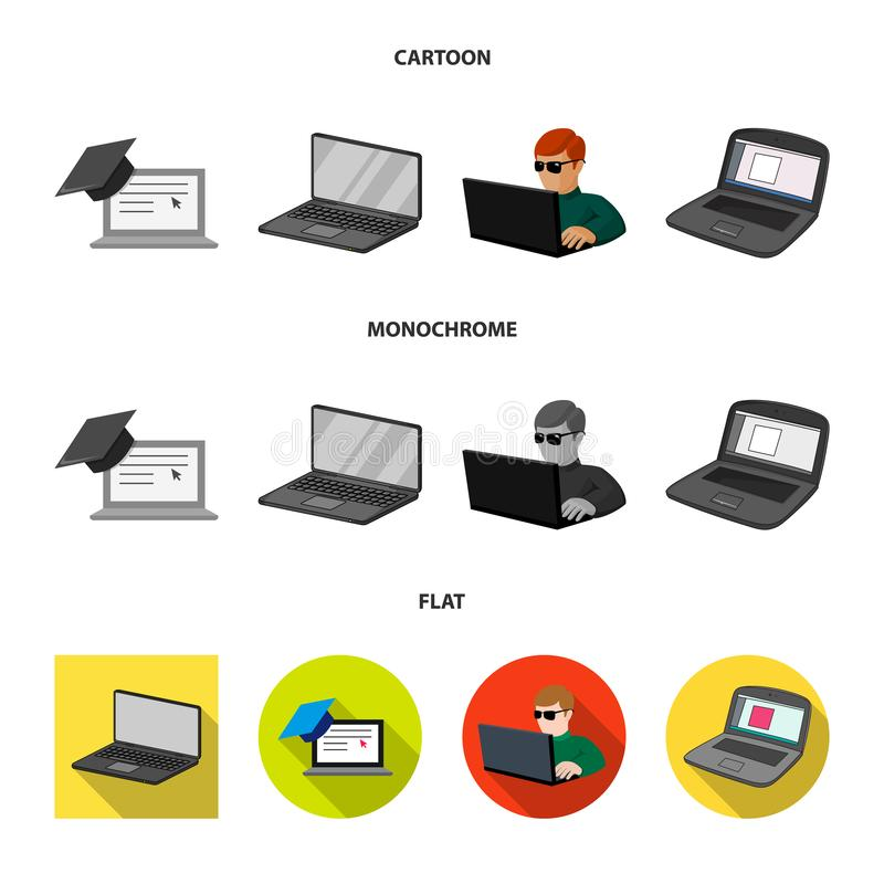 Isolated object of pc and screen logo. Collection of pc and monitor stock vector illustration. Vector design of pc and screen icon. Set of pc and monitor vector royalty free illustration