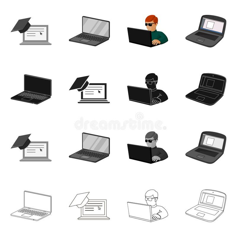 Isolated object of pc and screen icon. Set of pc and monitor vector icon for stock. Vector design of pc and screen symbol. Collection of pc and monitor stock stock illustration