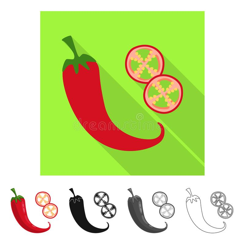 Isolated object of pepper and chili icon. Collection of pepper and red vector icon for stock. Vector design of pepper and chili symbol. Set of pepper and red royalty free illustration