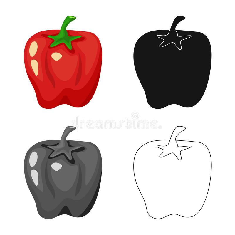 Isolated object of pepper and red  sign. Set of pepper and vegetable vector icon for stock. Vector design of pepper and red  logo. Collection of pepper and royalty free illustration