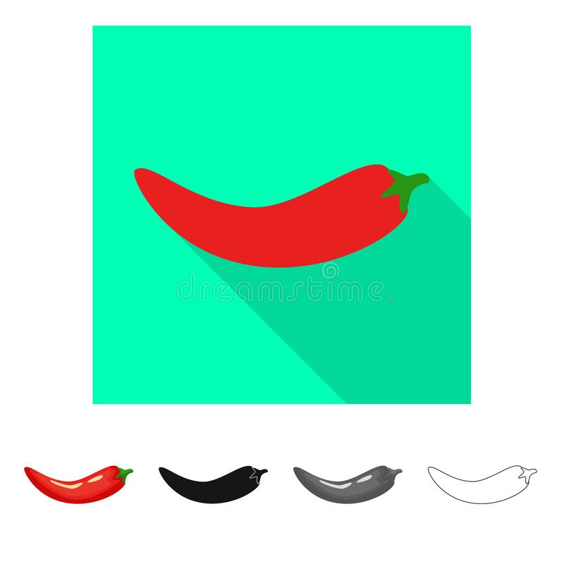 Isolated object of pepper and red icon. Set of pepper and cook stock vector illustration. Vector design of pepper and red symbol. Collection of pepper and cook vector illustration