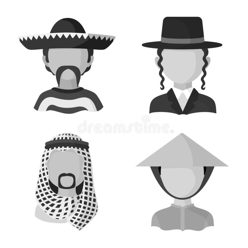 Isolated object of person and culture icon. Set of person and race stock symbol for web. Vector design of person and culture symbol. Collection of person and stock illustration