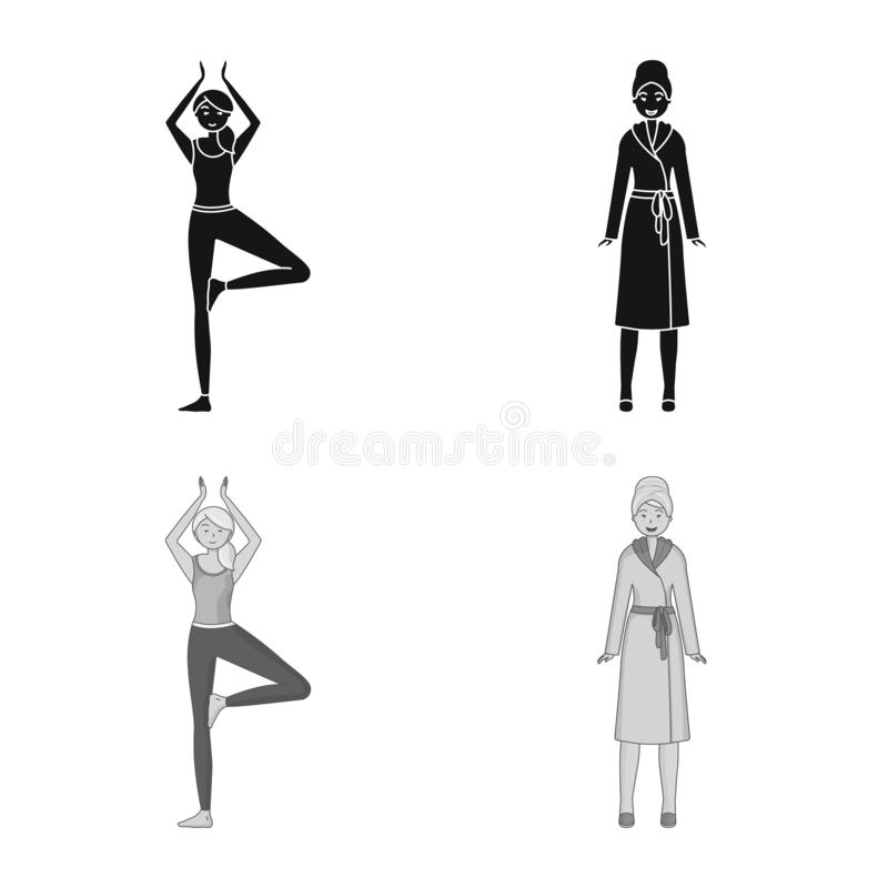 Vector design of posture and mood icon. Set of posture and female vector icon for stock. Vector illustration of posture and mood symbol. Collection of posture royalty free illustration