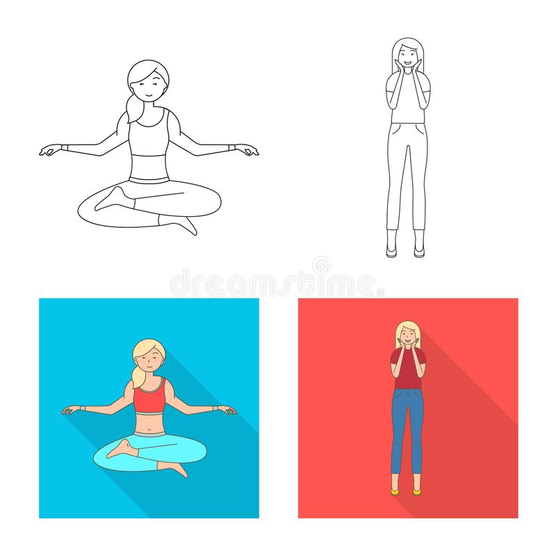 Vector design of posture and mood icon. Set of posture and female vector icon for stock. Vector illustration of posture and mood symbol. Collection of posture stock illustration