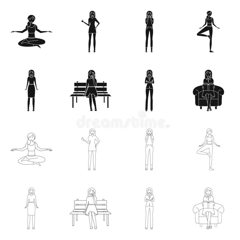 Vector design of posture and mood icon. Set of posture and female stock symbol for web. Vector illustration of posture and mood symbol. Collection of posture stock illustration