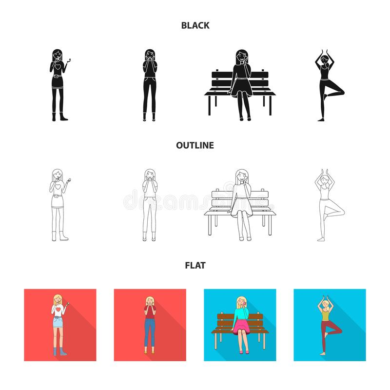Vector design of posture and mood icon. Set of posture and female stock vector illustration. Vector illustration of posture and mood symbol. Collection of royalty free illustration