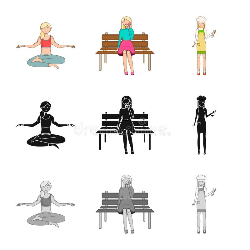 Vector design of posture and mood logo. Collection of posture and female stock symbol for web. Vector illustration of posture and mood icon. Set of posture and stock illustration