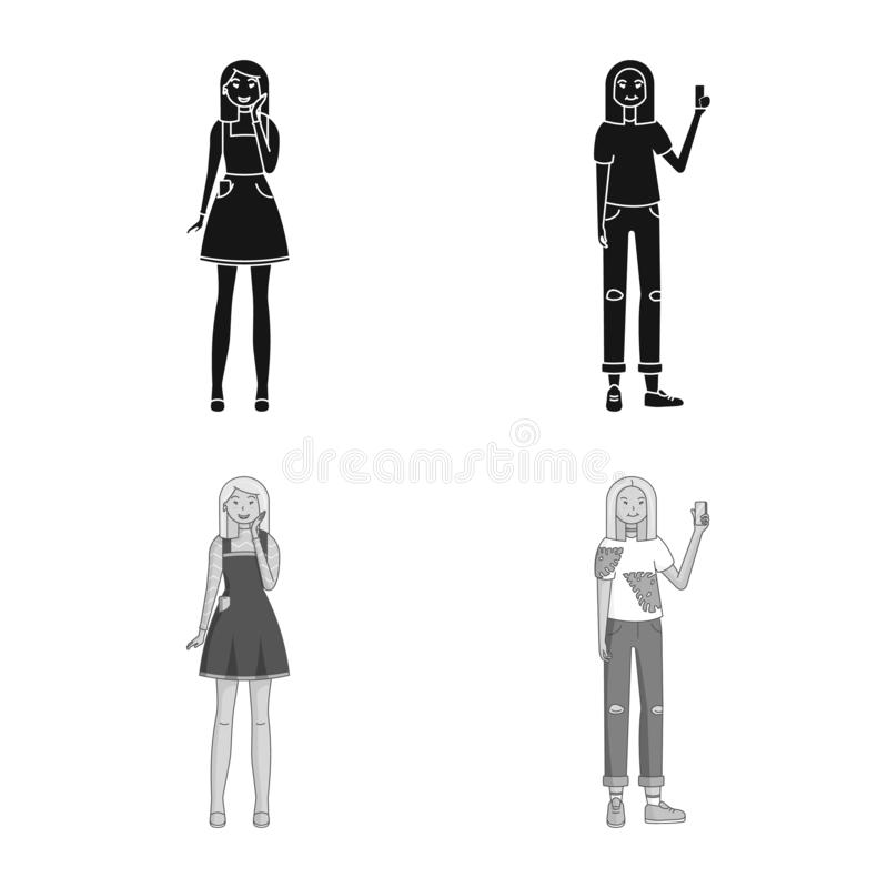 Vector design of posture and mood logo. Collection of posture and female stock vector illustration. Vector illustration of posture and mood icon. Set of posture royalty free illustration