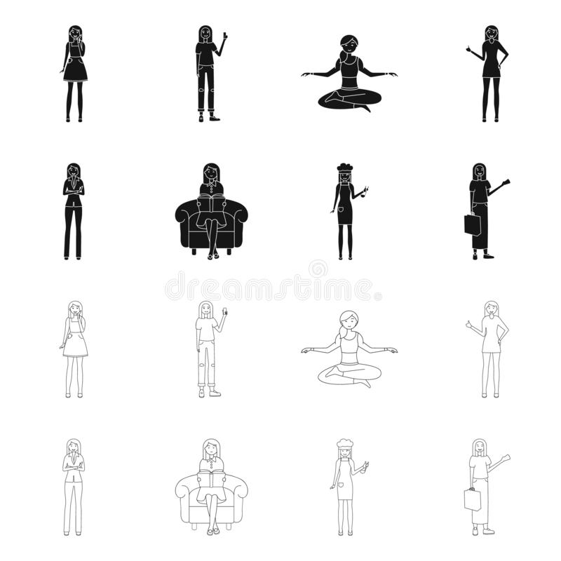 Vector design of posture and mood logo. Set of posture and female vector icon for stock. Vector illustration of posture and mood icon. Collection of posture and vector illustration